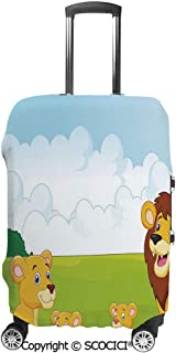 SCOCICI Luggage Cover Cartoon Style Lion Family in the Forest Africa Savannah Safari Habitat Protective Travel Trunk Case Elastic Luggage Suitcase Protector Cover