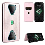 BAIYUNLONG Funda Protectora, Xing Chen for Xiaomi Black Shark 3 Carbon Fiber Texture Magnetic Horizontal Flip TPU + PC + Funda de Cuero PU con Ranura for Tarjeta (Color : Pink)
