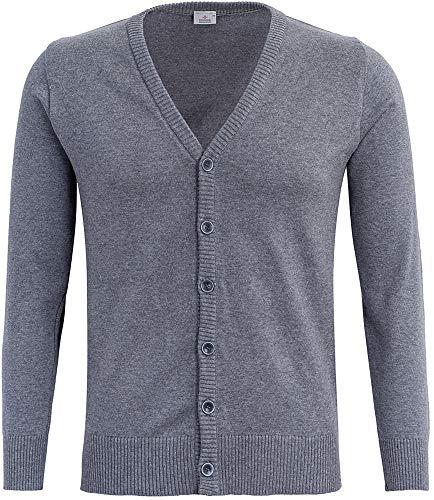 STENSER Kt01-2 Jungen Cardigan Strickjacke Durchgeknöpft V-Ausschnitt Schuluniform 100% Baumwolle, Grau, 164 (Label Size 42)