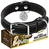 Leather Dog Collar for Puppy and Small Dogs - Heavy Duty Dog Collars with Durable Metal Hardware & Double D-Ring - Unique Name Tag Included (S:  Width / 10'- 14,5' Length, Black)