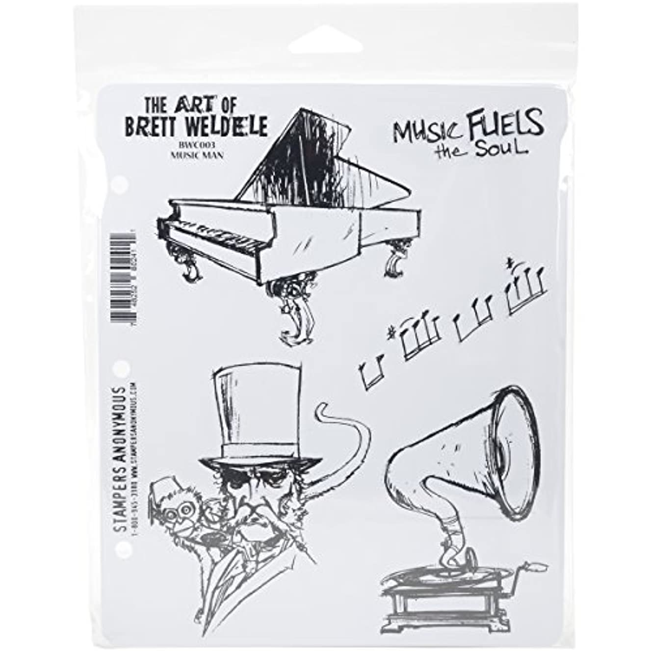 Stampers Anonymous Music Man Brett Weldele Cling Rubber Stamp Set, 7