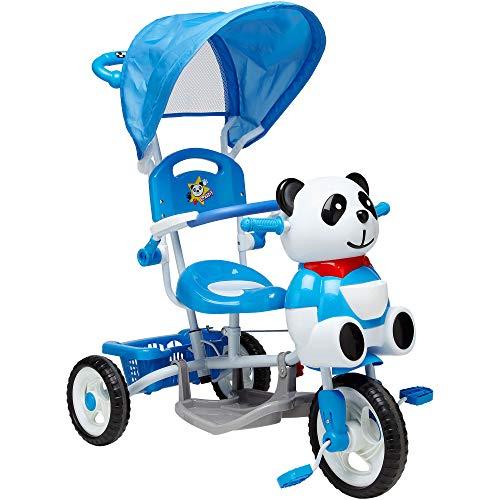 Globo Toys Globo–36956VITAMINA _ G hellblau Panda Metall Dreirad mit Griff und Sonnenschutz