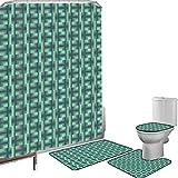 Juego de cortinas baño Accesorios baño alfombras Geométrico Alfombrilla baño Alfombra contorno Cubierta del inodoro Patrón cuadrado abstracto Diseño de ilusión óptica Esquema de color suave,Verde mar