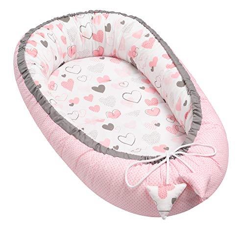 Solvera_Ltd - Nido para bebé de 2 Caras, Coco, ecológico, para recién Nacidos, 100% algodón, Suave y Seguro, 50 x 90 cm