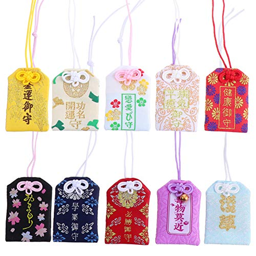 GARNECK 10 Unidades de Amuleto Japonés de La Suerte Que Cuelga La Bolsita Omamori Amuleto de La Suerte Colgante de La Bolsa para El Coche de Casa