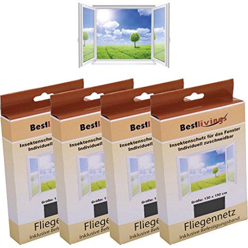 Bestlivings Mückennetz 4er Pack für Ihr Fenster 130x150 cm selbstklebend, in verschiedenen Ausführungen verfügbar (Schwarz/Basic)