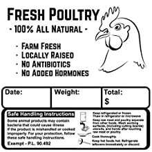 Producers operating under the 1000 bird exemption must use a modified safe handling instructions label that denotes processed under Exempt P.L. 90-492. Waterproof, Fridge/Freezer proof, Heavy-Duty Enhances your product presentation and gives your cos...