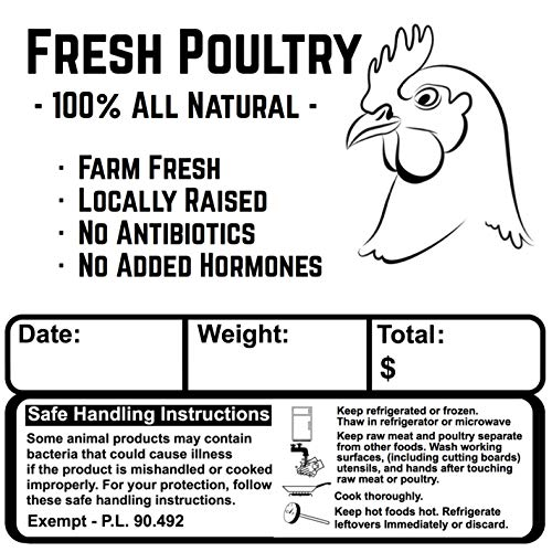 Poultry Freezer Labels 3.5' x 3.5' with Safe Handling Instructions Exemption – P.L. 90-492 (50)