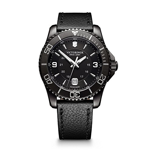 Victorinox Men's Maverick Stainless Steel Swiss-Quartz Watch with Leather Strap,...