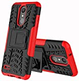 LG Zone 4 Case,LG Aristo 2/3, LG Phoenix 4, LG Tribute Empire/Dynasty SP200,LG Fortune 2,LG Risio 3,LG K8 (2018) Case,Yiakeng Wallet Hard Protective Flip Phone Cases with A Kickstand (Red)