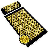 Esterilla Acupresion Kit Benooa Juego de Almohadillas de Masaje Dolor de Espalda y Cuello Alivio del Sueño para la Relajación Muscular El Dolor Ciático Alivia el Estrés 26.8'x16.1' (Black+Yellow)