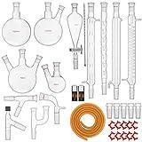 VEVOR Kit Vetreria da Laboratorio 32 Pezzi Kit di Distillazione per Chimica Organica Kit di Apparecchi di Distillazione Kit Vetreria da laboratorio Materiale Vetro da Laboratorio