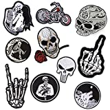 Halloween Skull Punk Moto Patch Set, Iron on Sew on Patches for Jackets Hat Clothing Bags Decoration
