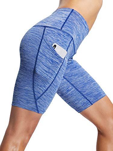 Neleus Short feminino de compressão para treino e ioga com bolso, 9035 One Piece of Blue, Large