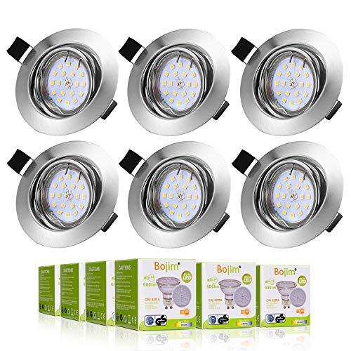 Bojim 6x GU10 Foco Empotrable Blanco Cálido 2800K 6W Equivalente a Incandescente 54W Ojos de buey LED Metal Redondo Ángulo de basculación 30° y Ángulo de Luz 120° Luz Led de Techo 600Lm 82Ra 2