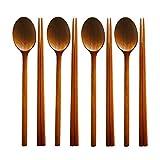 STAR-TOP Handmade Jujube Tree Wooden Korean dinnerware combinations Utensil,Spoons and Chopsticks