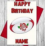 Carte d'anniversaire personnalisée Ballon de rugby Angleterre – n'importe quel nom et âge imprimé sur le devant