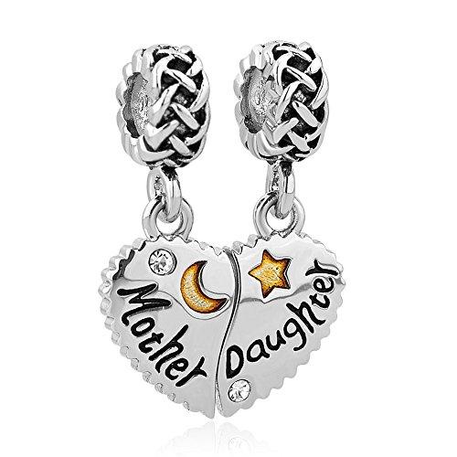 Korliya Mother Daughter Charm Heart Dangle Bead for European Bracelet