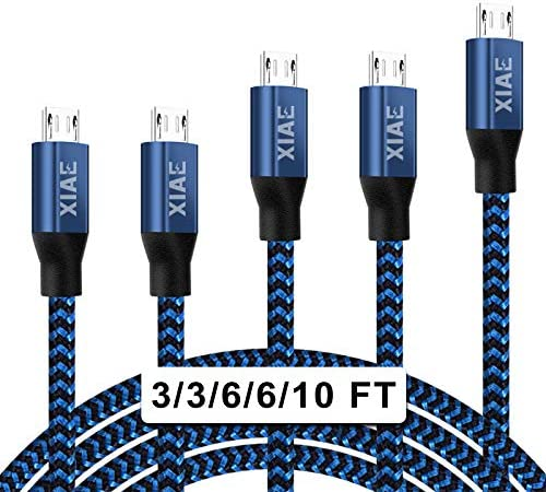 Micro USB Cable XIAE 5Pack 3 3 6 6 10FT Nylon Braided Fast Charging Cable Aluminum Housing USB product image