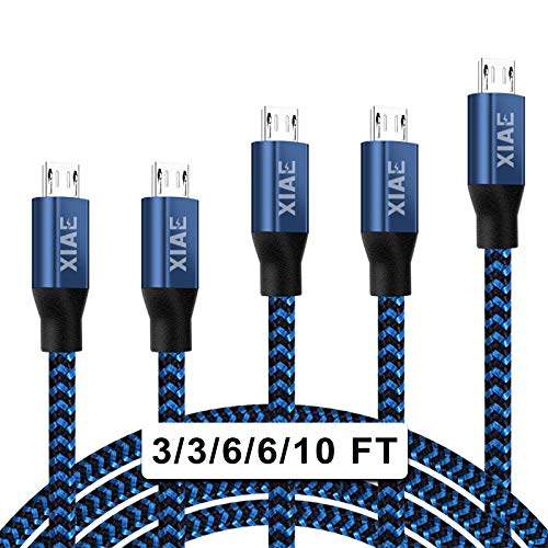 Micro USB Cable,XIAE 5Pack (3/3/6/6/10FT) Nylon Braided Fast Charging Cable Aluminum Housing USB Charger Android Cable for Samsung Galaxy S7 Edge S6 S5,Android Phone,LG G4,HTC and More-Black&Blue