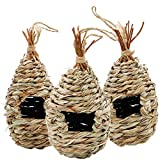 winemana Hand Woven Hummingbird House, Set of 3 Bird Hut 9' x 4', Outside Grass Hanging Bird Hut, Natural Hummingbird Nest for Outdoor.