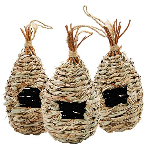 """winemana Hand Woven Hummingbird House, Set of 3 Bird Hut 9"""" x 4"""", Outside Grass Hanging Bird Hut, Natural Hummingbird Nest for Outdoor."""