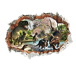 4. MLM 3D Crack in the Wall Dinosaurs Self-Adhesive Decal Stickers