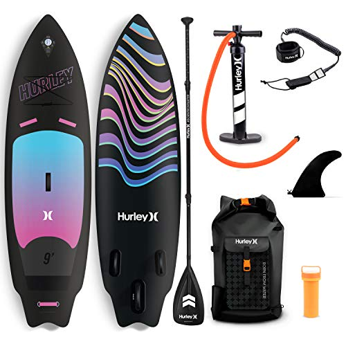 Hurley PhantomSurf 9' Stand Up Paddle Board with Hikeable Backpack, Air Pump, Adjustable Floating Paddle, Coiled Leash, Fin & Repair Kit (Ombre)
