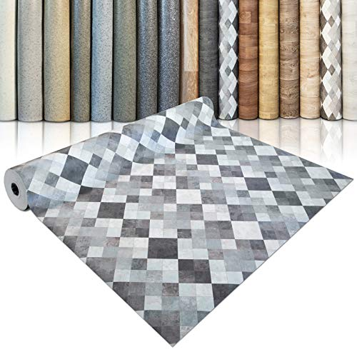 CV Bodenbelag Toscana Aqua - extra abriebfester PVC Bodenbelag (geschäumt) - Naturstein Marmor Mosaik - edle Steinoptik - Oberfläche strukturiert - Meterware (200x300 cm)