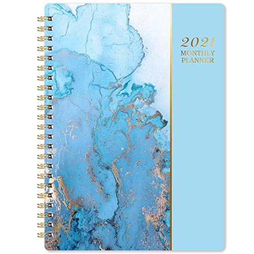 2021 Monthly Planner - 12-Month Planner with Tabs & Pocket, Contacts and Passwords, 6.3' x 8.4', Thick Paper, Jan. - Dec. 2021, Twin-Wire Binding - Blue Gilding by Artfan