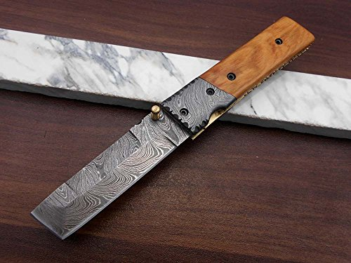 Damascus Steel Blade Laguiolle Knife with Wine Opener Utility, Pocket Every Day Legal Knife with Natural Camel Bone and Bull Horn Scale, Come with Cow Hide Leather Sheath