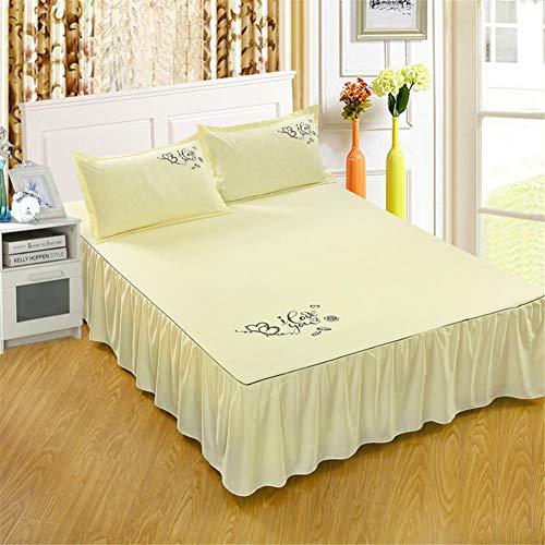 myonly Funda de cama colcha de terciopelo suave color sólido falda de cama con volantes princesa gruesa falda de cama colcha de cama de tamaño Queen King Falda de cama