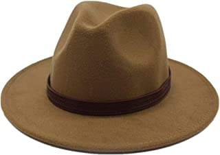 LiJuan Shen Men Women Wool Fedora Hat With Belt Autumn Wool Trilby Hat Church Casual Wild Hat Wide Brim Hat Fascinator Size 56-58CM