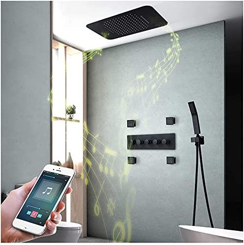 AZDS Music Rain Shower System 64 Colores LED Black Shower Combo Set Termostático Baño Ducha Grifo Se (Esenciales de la Familia)