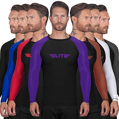 Elite Sports New Item Full Long Sleeve Compression, Mma, Bjj, No Gi, Cross Training Rash Guard, Large, Purple