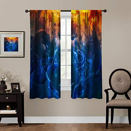 Blackout Curtains for Anime Fans, Rod Pocket Thermal Insulated Darkening Window Drapes for Bedroom, Cute Animal Boys Girls Room Décor, 2 Panels,63x63 inch…
