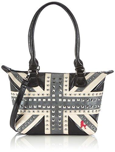 poodlebag Handtaschen Damen Schulter-Taschen mit Nieten im Union Jack UK Flaggen Design Funkyline Flag Tuesday 3FL0714TUUK