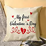 No - Branded Decorative Cover Sets Pillow Protectors Cushion Covers Standard Size My First Valentines Day,Personalized Couples Walkers for Sofá Home Bedroom 18x18