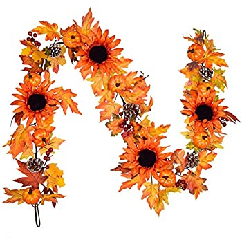 Lvydec 6ft Sunflower Fall Garland Decoration Autumn Garland with Maple Leaves Pumpkins Pine Cones and 4 Vintage Sunflowers for Home Party Mantle Halloween Thanksgiving