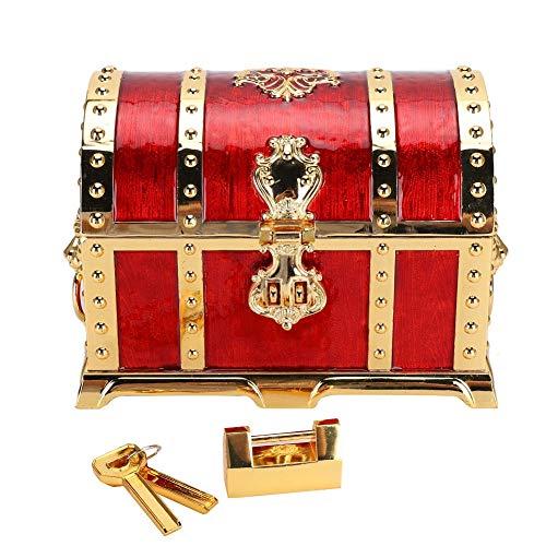 Cofre del tesoro de metal Rectángulo de la vendimia Aleación de zinc Baratija Joyero Pirata Cofre del tesoro organizador con cerradura Caja de almacenamiento de joyas