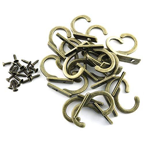 Magic&shell Mini gancho individual 20 piezas 21 x 19 mm Vintag Bronce aleación de zinc montado en la pared ganchos individuales con tornillos para colgar sombrero, toalla, bolsa de llaves