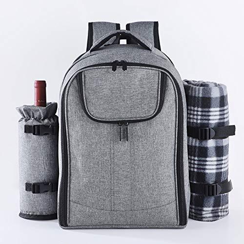 Crtkoiwa Picknickrugzak voor 4 personen (grijs) picknickset, inclusief flessenhouder en fleece deken, groot koelvak