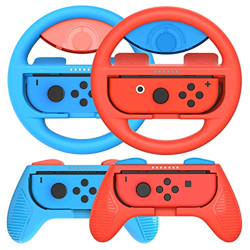 momen Grips Kit for Nintendo Switch Joy Con; Nintendo Switch Joy Con Grip, Anti-slip Joy Con Wheel for Joy Con ( 4 Pack) Blue&Red