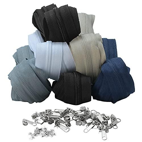 ZITFRI 12m Reißverschluss endlos 5mm, je 2m, teilbarer Reißverschluss mit 30 Zipper und 30 Endstück, 5 Farben Endlosreißverschluss mit Zipper für Kleidung, Röcke, Rucksack, Heimtextilien