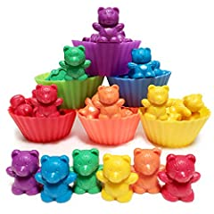 BABY ACTIVITY CENTER | BABY STACKING TOYS: Sorting bears with cups offers guidance in the early stages of visual perception. These montessori toys for 1 year old allows children to focus on movement and placement of each bear counter to become aware ...