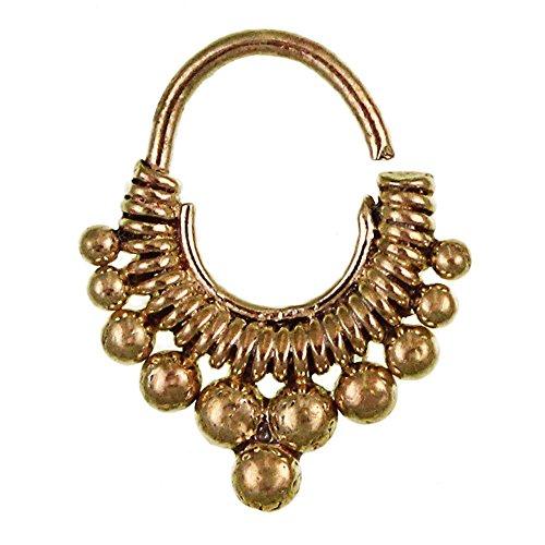 Chic-Net Septum Piercing Nasenringe Kugeln Spiralfeder Messing 1 mm golden antik Ohrring exotisch