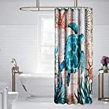 Uphome Beach Shower Curtain Fabric Sea Turtle Shower Curtain Sets Nautical Blue Navigation Coastal Bathroom Curtain with Hooks Waterproof Ocean Decor 36 x 72