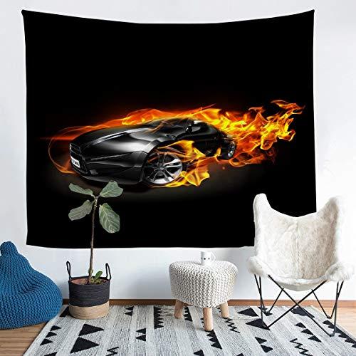 Tapiz negro para colgar en la pared para niños, adolescentes, coche, deportes, deportes extremos, para pared, decoración de coche, para dormitorio, sala de estar, 152 x 222 cm