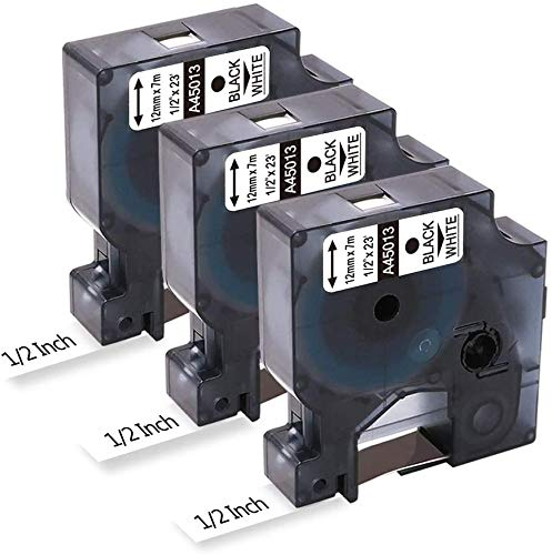 Invoker–Cintas de Etiquetas compatible para usar en lugar de Dymo 45013 S0720530 Standard Cartucho 12mm x 7m,para Dymo LabelManager 160 280 260P LabelPoint 250 LabelWriter,Negro sobre Blanco,pack de 3