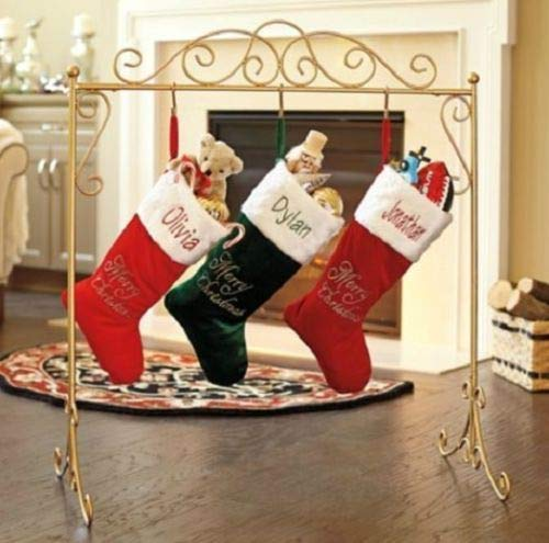 Metal Scroll Stand Christmas Stocking Holder Hanger in Black or Gold Color (Gold)